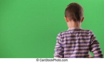 garçon, écran, vidéo, vert, pousses, smartphone.
