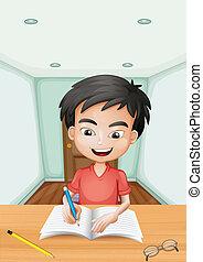 garçon, écriture lettre