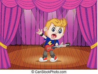 garçon, électrique, jeune, guitare jouer, étape