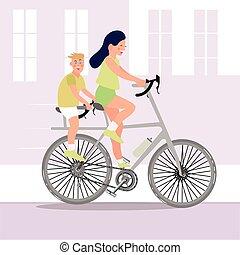 garçon, équitation, femme, vélo