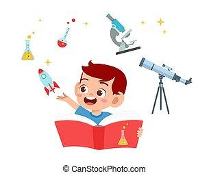 garçon, étude, planète, science, heureux, mignon, gosse