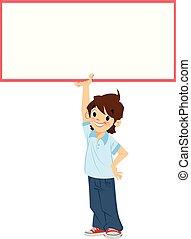 garçon, étudiant, signe, tenue, vide, blanc, sourire, dessin animé, heureux