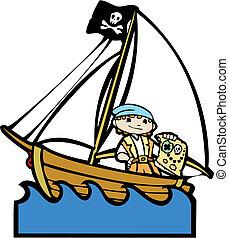 garçon, #2, bateau, pirate
