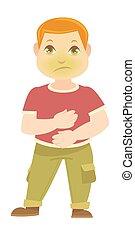 garçon, a, douleur, stomach., vert, enfant malade, figure