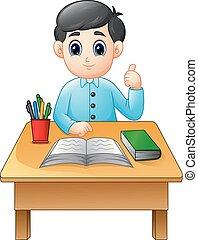 garçon, abandon, pouces, apprentissage, table, dessin animé