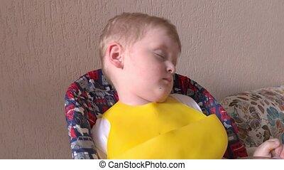 garçon, abattre, endormi