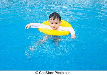 garçon, activités, piscine, bébé, enfants, natation