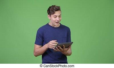 garçon, adolescent, tablette, jeune, numérique, utilisation, beau