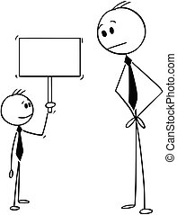 garçon, affaires signent, tenue, petit, homme affaires, dessin animé, vide