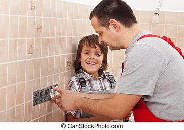 garçon, aider, sien, electical, père, installation, sorties