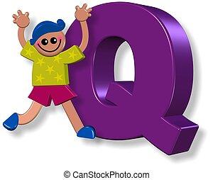 garçon, alphabet, q
