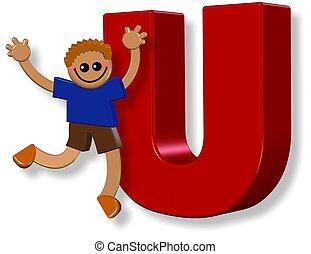 garçon, alphabet, u