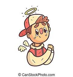 garçon, ange, esquissé, casquette, main, veste, collège, dessiné, portrait, emoji, frais