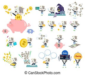 garçon, animal, argent, vache