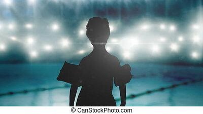 garçon, animation, piscine, projecteurs, natation, sur, silhouette