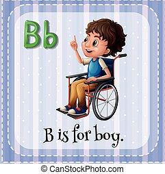 garçon, b, lettre, flashcard
