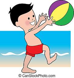 garçon, bal, plage