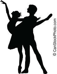 garçon, ballet, danse, silhouettes, vecteur, girl
