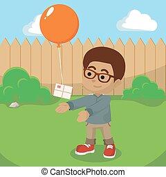 garçon, balloon, africaine, courrier, envoi
