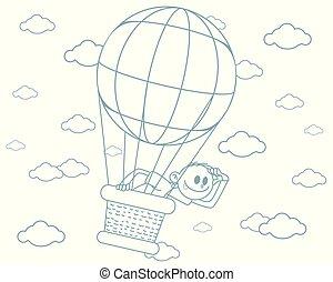 garçon, balloon, grand