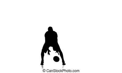 garçon, basket-ball, silhouette., joueur, poignées, fond, skillfully, blanc, ball.