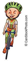 garçon, bicyclette voyageant, croquis