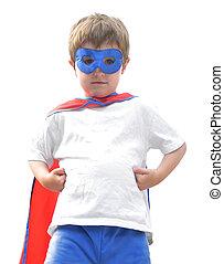 garçon, blanc, courageux, héros, super