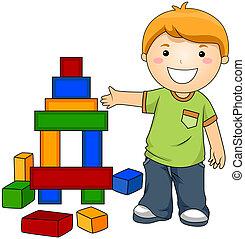 garçon, blocs jouet