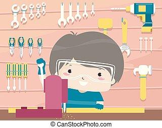garçon, bois, illustration, atelier, outils, gosse