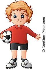 garçon, boule football, dessin animé, tenue