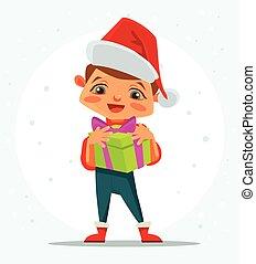 garçon, box., cadeau, plat, marier, caractère, illustration, year., vecteur, noël., nouveau, prise, dessin animé, heureux