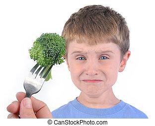 garçon, brocoli, régime, sain, blanc