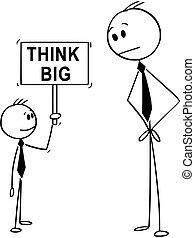 garçon, business, grand signe, tenue, petit, homme affaires, dessin animé, penser