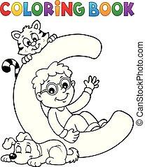 garçon, c, coloration, animaux familiers, livre, lettre