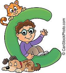 garçon, c, lettre, animaux familiers