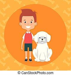 garçon, caractère, chien