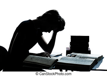 garçon, caucasien, coupure, silhouette, fatigué, étudier, isolé, jeune, lecture, livres, studio, adolescent, fond, blanc, fille, dehors