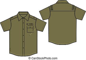 garçon, chemises, militaire