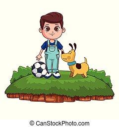 garçon, chien, dessin animé