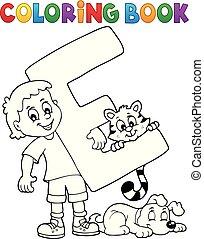 garçon, coloration, e, animaux familiers, livre, lettre