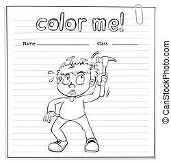 garçon, coloration, marteau, tenue, worksheet
