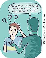 garçon, communiquer, adolescent, puits, incapable, comprendre