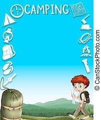 garçon, conception, frontière, engrenages, camping