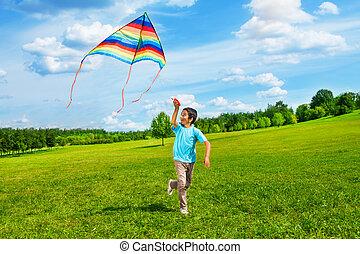 garçon, course, cerf volant, heureux