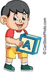 garçon, cube, heureux, tenue, alphabet