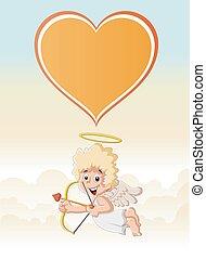 garçon, cupidon, dessin animé, ange