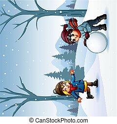 garçon, dehors, girl, combat snowball, jouer