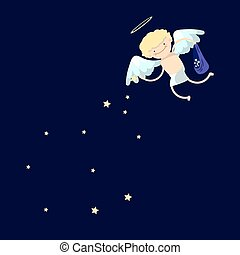 garçon, dessin animé, ange