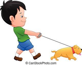 garçon, dessin animé, chien