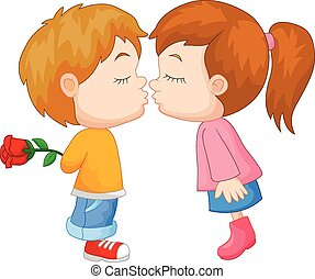 garçon, dessin animé, girl, baisers